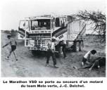 Dakar 1980 Leyland Marathon et motard blessé