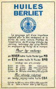 Publicité Huiles Berliet 1928